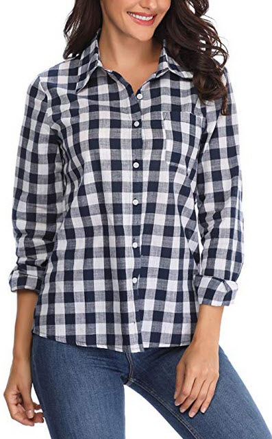 MISS MOLY Plaid Button Down Shirts for Women Casual Long Sleeve Tartan Gingham Checkered Buffalo ...