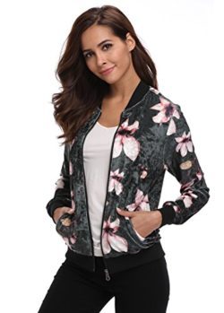 MISS MOLY Women's Floral Print Stand Collar Zip Up Long Sleeves Bomber Jacket