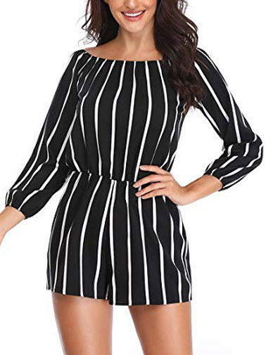 MISS MOLY Women 's Summer Off The Shoulder Rompers Strapless Boat Neck 3/4 Sleeve Casual S ...