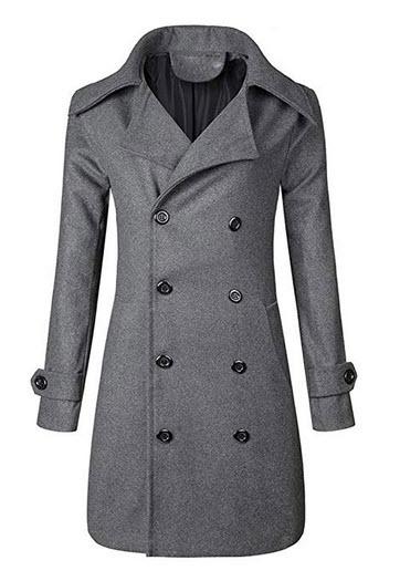 Missli Men's Winter Trench Coat Slim Fit Double Breasted Long Jacket Parka grey