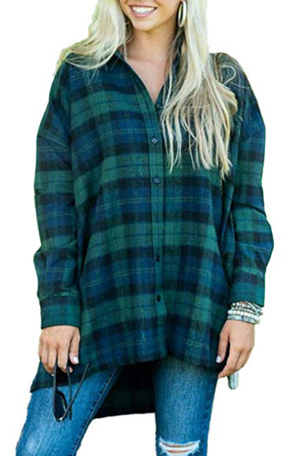 MISSLOOK Womens Plaid Shirts Button Down Tops Flannel Roll-up Sleeve Blouses Tunics green