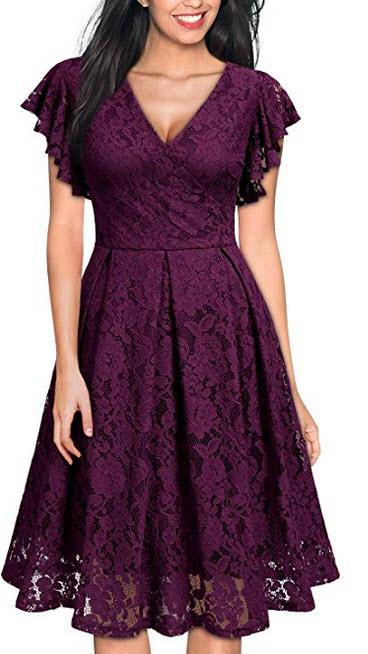 MISSMAY Womens Retro V-Neck Ruffle Lace Party Dress magenta