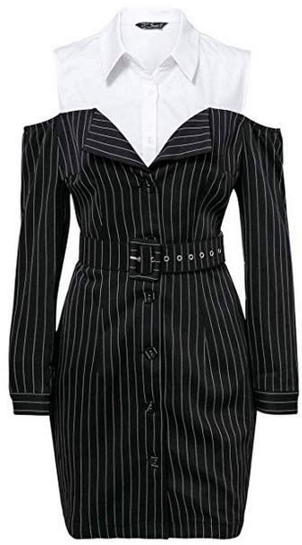 Missy Chilli Women's Cold Shoulder Blazer Dress Stripe Long Sleeve Spliced Shirt Dress black