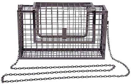 Miuco Women Chain Crossbody Bags Metal Hollow Out Cage Clutch black