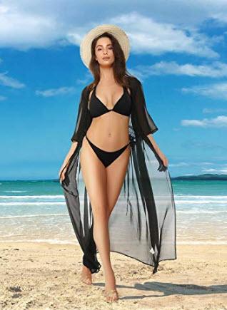 Mixfeer Womens Long Bikini Cover Up Chiffon Long Beach Dress Cardigan Open Front Kimono Swimsuit ...