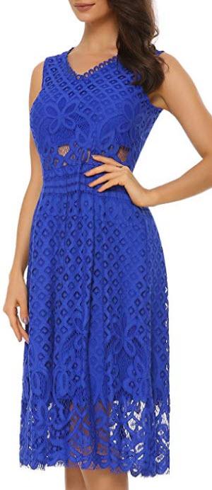 Women's V-Neck Vintage Floral Lace Sleeveless Cocktail Party Midi Dress, royal blue