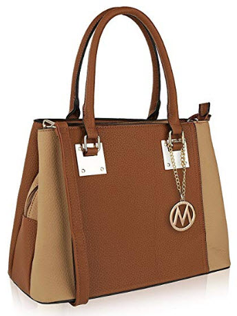 MKF Collection Capri Satchel Shoulder designer Handbag by Mia K. Farrow, camel