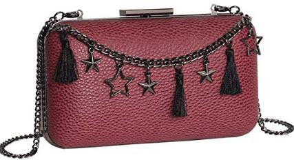 M10M15 Women Wine Evening Clutch Purse Handbag with Tassels and Stars