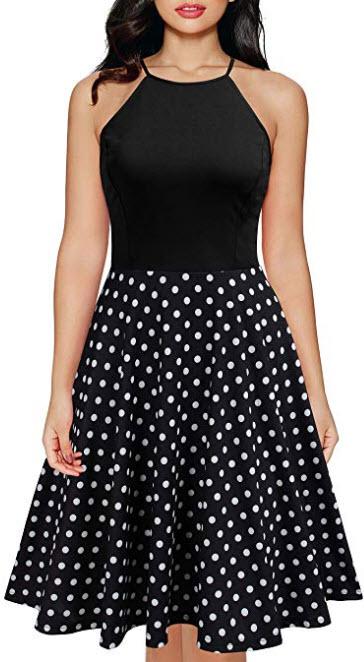Mmondschein Women Vintage Lace Chiffon A-line Party Summer Causal Dress, black polka dot