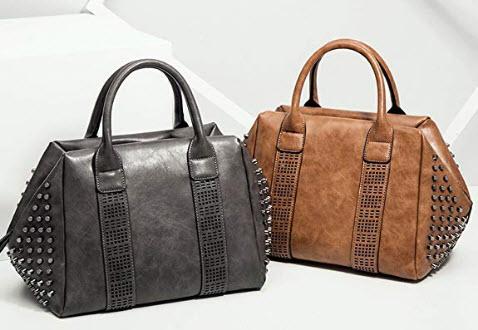 Mn&Sue Retro Women Top Handle Satchel Rivet Studded Tote Handbag PU Leather Roomy Shoulder B ...