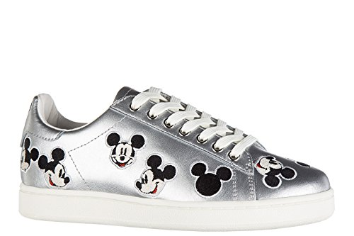 MOA Master Of Arts Women's Shoes Leather Trainers Sneakers Silver