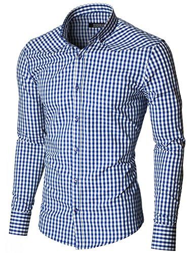 MODERNO Mens Slim Fit Long Sleeve Checkered Shirt