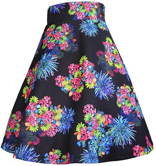 Modeway Elastic Waist Pleated Skater a line Midi Skirt, flower 4