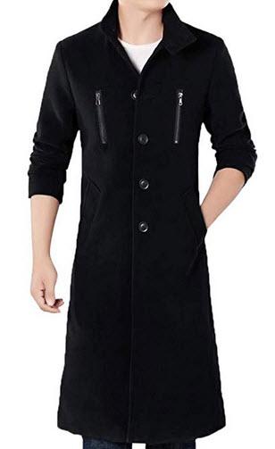MODOQO Men's Long Trench Coat Casual Stand Collar Windbreak Pea Coat Overcoat black