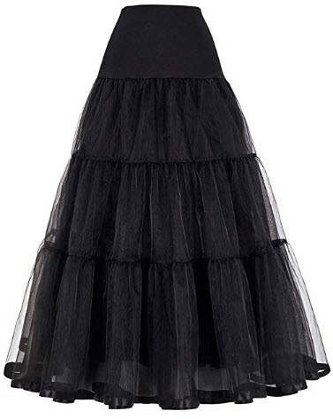Mojonnie Women's Floor Length Wedding Petticoat Long Underskirt for Formal Dress black