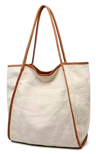 MONHINTY Work Tote Bag for Women Extra Large Capacity Shopper Shoulder Bag Genuine Leather Canva ...