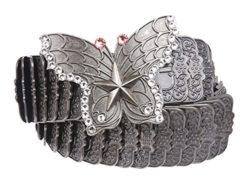MONIQUE Women Rhinestone Butterfly Elastic Sequent Metal Stretch 45mm Belt