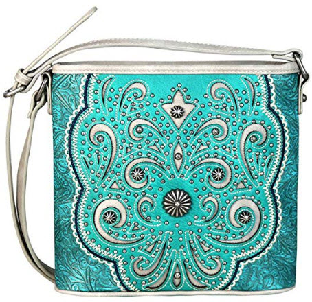 Montana West Purses Western Floral Cut Out Pattern Cross Body Bags MW654-8360, turquoise