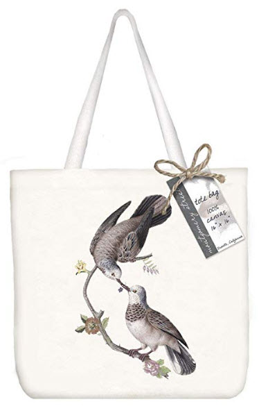 Montgomery Street Love Birds Cotton Canvas Tote Bag