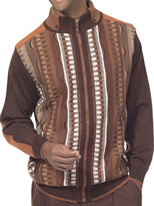 MONTIQUE Men's Stripe Design Full Zip Acrylic Knitted Fashion Sweater SW-11 dk. brown