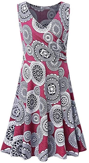 MOQIVGI Women's Cross V Neck Casual Dresses Sleeveless Floral Midi Summer Dress, red
