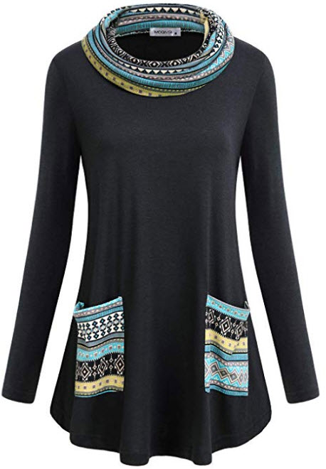 MOQIVGI Womens Long Sleeve Tunic Tops Cowl Neck Pullover Sweatshirts with Pockets multicolored black
