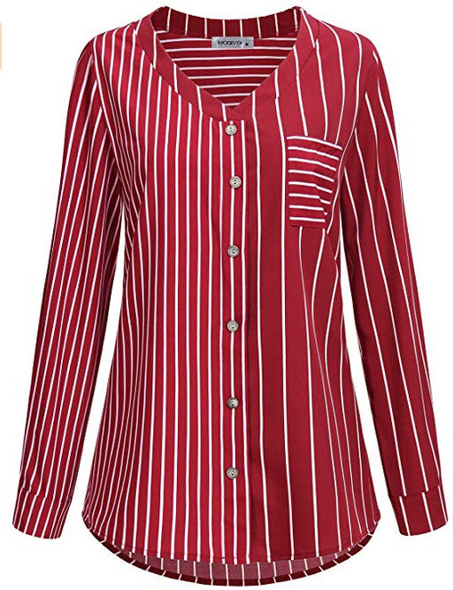 MOQIVGI Womens Long Sleeve V Neck Chiffon Blouses Striped Tops and Shirts red