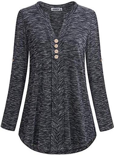 MOQIVGI Womens Roll Tab Sleeve V Neck Plaid Shirts Trendy Casual Checkered Blouse Tops, marled black
