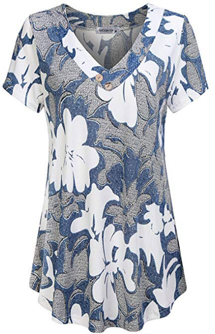 MOQIVGI Women's V Neck Short Sleeve Floral Print Blouse Tops Fashion Casual Tunic Shirts