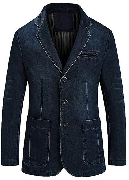 Mordenmiss Men's Denim Sport Coat Distressed Work Blazer Three-Buttons Jeans Outwear dark blue