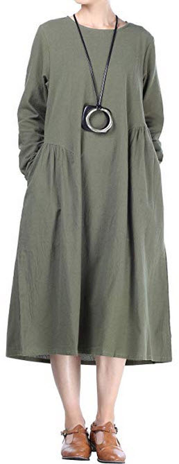 Mordenmiss Womens Cotton Linen Dresses Fall Loose Fit Basic Dress with Pockets army green