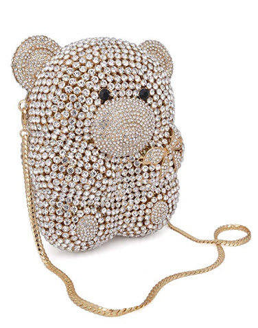 Mossmon Luxury Crystal Clutch Bear Evening Bag