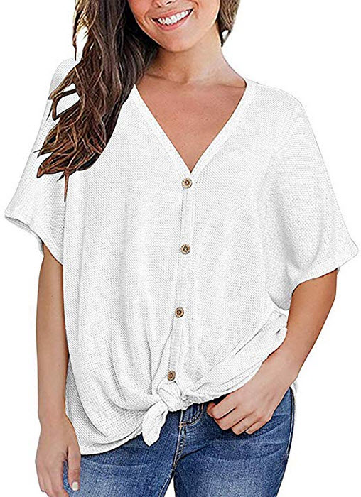 MOUEEY Womens Loose Blouse Short Sleeve V Neck Button Down T Shirts Tie Front Knot Casual Tops white
