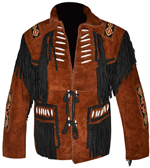 MSHC Western Cowboy Men's Bone & Fringed Suede Leather Jacket D4 V3 XXS-5XL Tan Brown