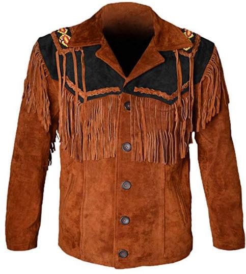 MSHC Western Cowboy Men's Brown Fringed Suede Leather Jacket D1, black & tan brown