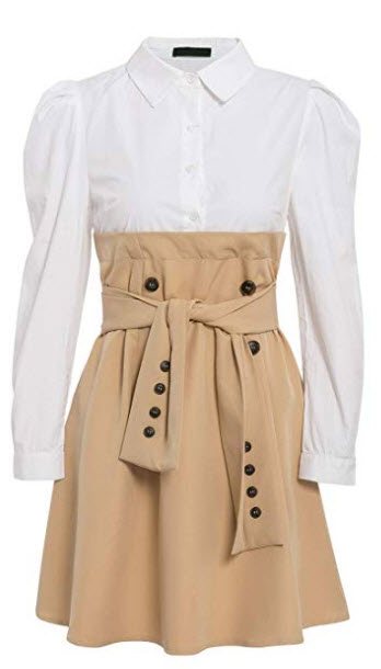 MsLure Women's Button Down Shirt Dress Puff Sleeve Patchwork Dress Tie Front Mini Dress