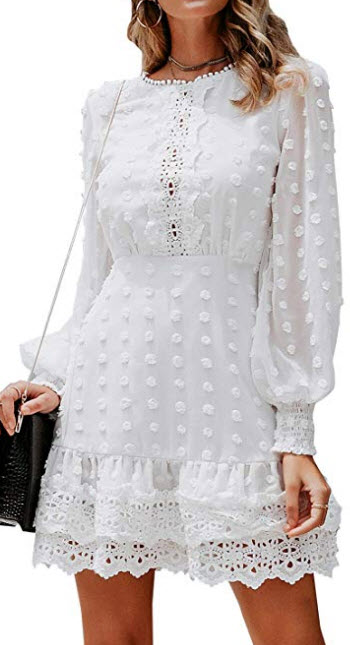 MsLure Women's Elegant Lace Chiffon Mini Dress Lantern Sleeve Ruffle Hem Party Dress