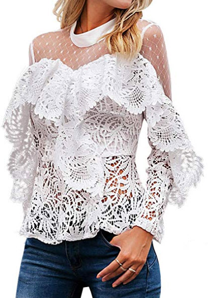 MsLure Women's Hollow Out Lace Mesh Blouse Long Sleeve Ruffle Party Tops