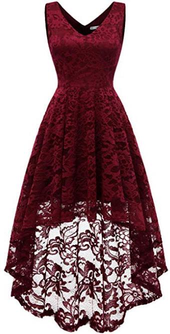 MUADRESS Women's Sleeveless Hi-Lo Lace Formal Dress Cocktail Party Dress V Neck, dark red