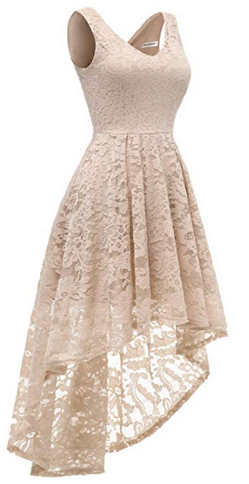 MUADRESS Womens Sleeveless Hi-Lo Lace Formal Dress Cocktail Party Dress V Neck champagne