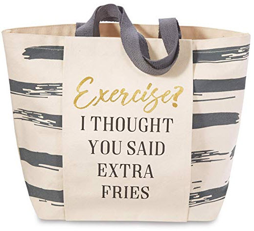 Mud Pie 80300001EF Gym Sentiment Exercise, Extra Fries Tote Bag, Gray