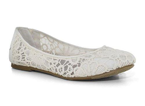 Mudd Women's Crochet Ballet Flats White