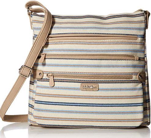 MultiSac Lorraine Womens Crossbody Bag, stripe blue, chino