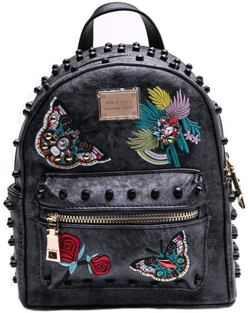 MUSAA Women Girls Pu Leather Rivet Studded Backpack Fashion hand-embroidered Casual Shoulder Bag ...