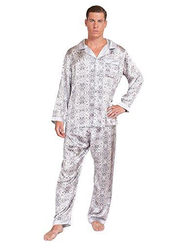 MYK Silk – Mens Distressed Paisley Print Silk Pajama Set – Shirt and Pants Loungewear