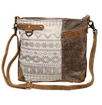 Myra Bag Floral Side Upcycled Canvas & Cowhide Leather Shoulder Bag S-1217