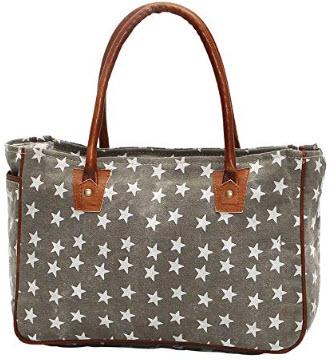 Myra Bags Freedom Stars On Upcycled Canvas Hand Bag M-1048