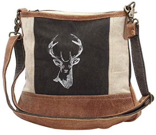 Myra Bags Reindeer Upcycled Canvas Crossbody Bag S-1033