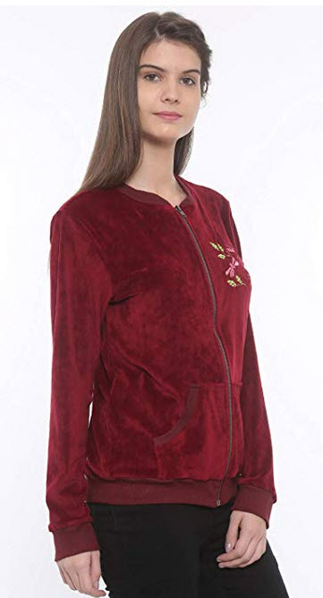 Mystere Paris Butterfly Velour Jacket Sleepwear Nightwear Loungewear Casual Women Ladies Maroon  ...