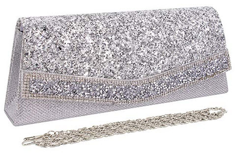 Naimo Ladies Flap Dazzling Clutch Bag Evening Bag With Detachable Chain (Silver)